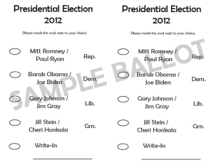 Somewhat Muddled Musings | Sample 2012 Presidential Ballot
